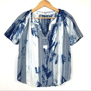 Dylan Embroidered Tie Dye Short Sleeve Top Small